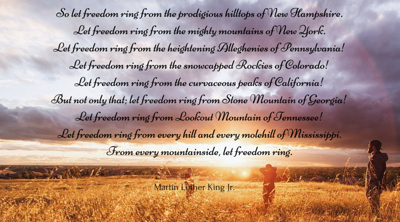 let freedom ring essay Remington burke tth 11-1215 social and political-let freedom ring pt 6: essay 5 prompt 1 iran was controlled by england during world war i, but when the brit.