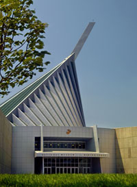Exterior photo of the National Museum of the Marine Corps, the most extensive marine corps museum.