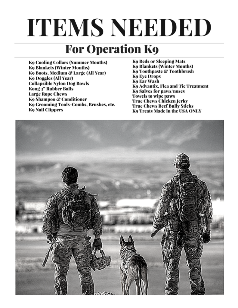 Items needed - K9 veterans day